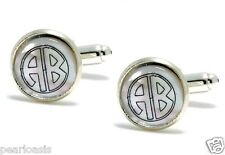 Two Letter Round Monogram Engraved Mother of Pearl Cufflinks, Silver Plated
