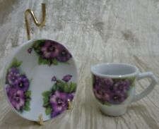 Vintage Miniature Plate with Stand and Mug Tea Cup Purple Floral (Bin 21)