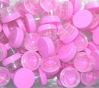 12 Tiny Plastic Reusable Jars 1tsp Pink Cap Beauty Skin Care Salon Screw Lid USA