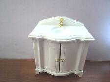 Dolls House Bathroom: White Sink unit    12th scale