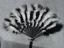 Victorian Edwardian Regency style black and white Marabou feather fan NEW