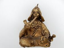 1950S HEAVY  BRASS COLONIAL STATUETTE NAIVE  ETHNIC SCULPTURE  NORTH AFRICA