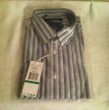 KENNETH COLE NEW YORK MEN'S DRESS BLACK/WHITE STRIPES  WITH LONG SLEEVES,SIZE L