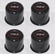 """SET OF 4 WELD 605-5030 WHEEL RIM BLACK CENTER CAP FITS 3.540"""" DIA BORE PUSH THRU"""