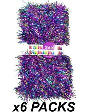 6 Packs x 6m PURPLE Christmas Festive Tinsel Foil 3 Ply 8cm