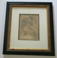 ALBERT BOCKSTAEL ANTIQUE DRAWING FRIEND STYLE OF MAGRITTE LINZE SURREAL MOD AXE