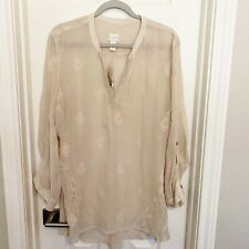 Chicos Size 3 XL Embroidered Sheer Embellished Tunic Tab Sleeve V Neck