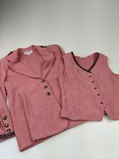 St John Pink Knit VEST BLAZER Jacket Combo Pink Black Sz 10