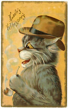 Maurice Boulanger Cat Love Whispers Cat with Derby & Pipe