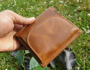 Tan Real Leather Girl's Wallet RFID Safe Handmade Women's Coin Purse Gift Bagged