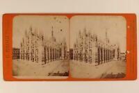 Italia Milan Duomo Cattedrale c1880 Foto Stereo Vintage Albumina