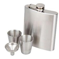 Stainless Steel Pocket Hip Flask Set For Drinks Whisky Vodka Wine Spirit New