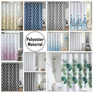 Waterproof Polyester Bathroom Long Shower Curtain Printed Fabric With 12 Hook