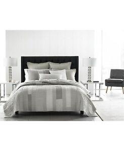 Hotel Collection Broken Stripe Cotton Linen Modern Quilt - FULL / QUEEN - Gray