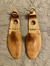 Vintage Hinged Hand Carved Wooden Shoe Trees sz L/XL 12