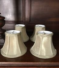 Lot Of 4 Khaki Green Lampshades Silk Fabric Chandelier Clip On Bell Shape