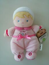 Carters My First Doll Blond Hair Blue Eyes Plush Lovey Pink Bow Daisy Flower NWT