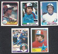 5 Card Lot - 1981 Fleer 1982 Topps Gary Carter Vintage Baseball Cards Expos