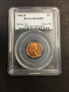1942-D PCGS MS66RD 1C LINCOLN WHEAT PENNY!! CLEAN! NO RESERVE!