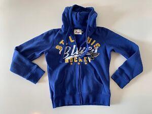 ST. LOUIS BLUES Full Zip Hoodie Sweatshirt Women's Size Small G-III 4HER Blue