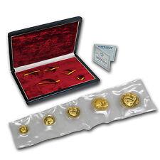 1987 China 5-Coin Gold Panda Proof Set (In Original Box) - SKU #8958