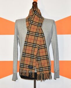 """AUTHENTIC BURBERRY LONG SCARF NOVA CHECK WITH LOGO 100 % LAMBSWOOL  (65 x 11)"""""""