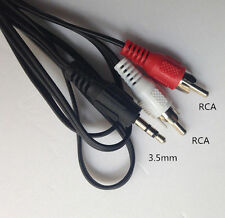 "3.5mm 1/8"" Mini plug TO 2 RCA Male Stereo Phono Audio Speaker Adapter CABLE New"