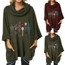 Plus Size Women Printed Long Sleeve Sweater Ladies Casual Loose Pullover Jumper