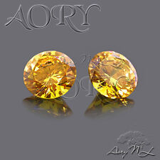1pcs AAAAA 10mm Golden Yellow Cubic Zirconia, Round Facet, SA07R, Brilliant Cut