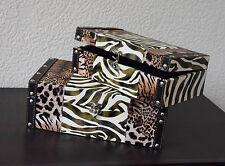 Dekobote, Holz Afrika 2er Boxen Set, Aufbewahrungsbox Schatule Geschenk Safari