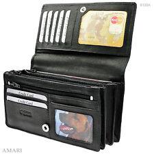 AMARI Damen-Portemonnaie XXL Nappaleder 20 Fächer Geldbörse Geld Tasche / 6130A
