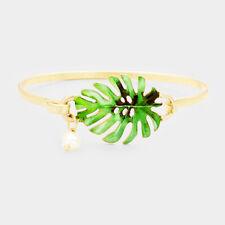 Tropical Leaf Bracelet Palm Tree Hook Bangle Metal Beach Jewelry GOLD GREEN