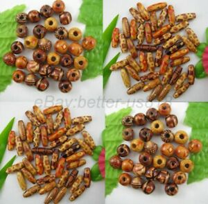 100Pcs MIXED Round & Oval & Shapes Charms WOOD Loose BEADS Choose Size 10MM 12MM