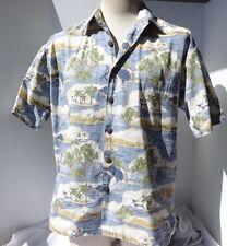 Kahala Hawaiian Mens Camp Shirt Cotton Blue w Size L Made in Hawaii w Palm trees