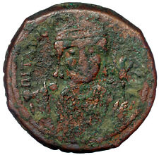 Byzantine Bronze Coin Follis Maurice Tiberius Large M Cros On Globe Shield Ae28