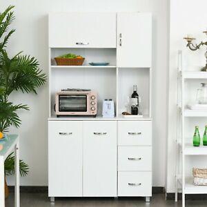 Huge Kitchen Sideboard Cabinet White Buffet Server Cupboard Pantry Storage Unit