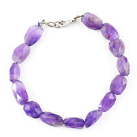110.00 Cts Natural 8 Inches Long Purple Amethyst Faceted Beads Bracelet (RS)