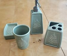 Sage Green Fern Leaf  4 Pc. Bathroom Ceramic Set