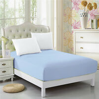 CC&DD Fitted Sheet 100% Microfiber Luxury Super Silky Soft Deep Pockets Sky-blue