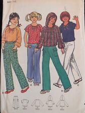 Amazing VTG 70s BUTTERICK 6410 Girls Hood Option Tops & Pants PATTERN 14/32B UC