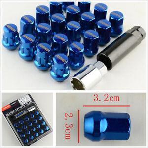 20 PCS M12x1.5 Wheel Screws Nuts+2 Tool Set Car Modified Anti-theft Hexagon Blue