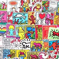 LOT OF 50 KEITH HARING ASSORTED GRAFFITI ART STICKERS