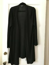 Eileen Fisher Black Open Knit Long Cardigan Sz. XL