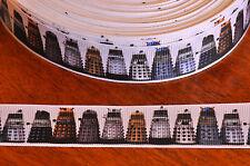 "DR WHO DALEK RIBBON  1"" (25mm)  printed grosgrain ribbon"