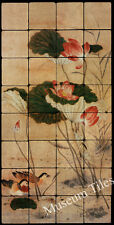 Art Painting Tumbled Marble Mural 16x32 Chinese Lotus Pond