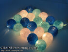20 BLUE TONE COTTON BALL STRING PARTY,FAIRY,DECOR,BEDROOM,WEDDING,GARLAND LIGHTS