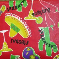 52x70 Rectangle~Vinyl Flannel Back Tablecloth~Sombrero~Cactus~Peppers~New w/Tags