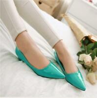 Womens Candy Colors Low block Heel Pointy Toe slip on Patent Leather Pumps Shoes