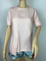 Ted Baker Designers Elegant Boho Pink Short Sleeves Blouse Shirt Top Size Xs