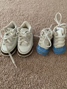 Lot Of 2 Baby Infant Retro Jordan IV Mocha Brown XI Carolina Blue Flaw Read Desc